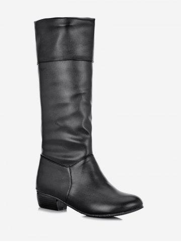 Plus Size Ruched Flat Mid Calf Boots