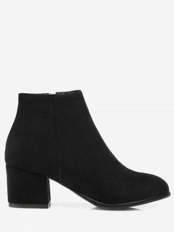 Plus Size Chunky Heel Suede Ankle Boots