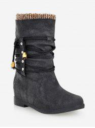 Plus Size Increased Heel Stud Short Boots -