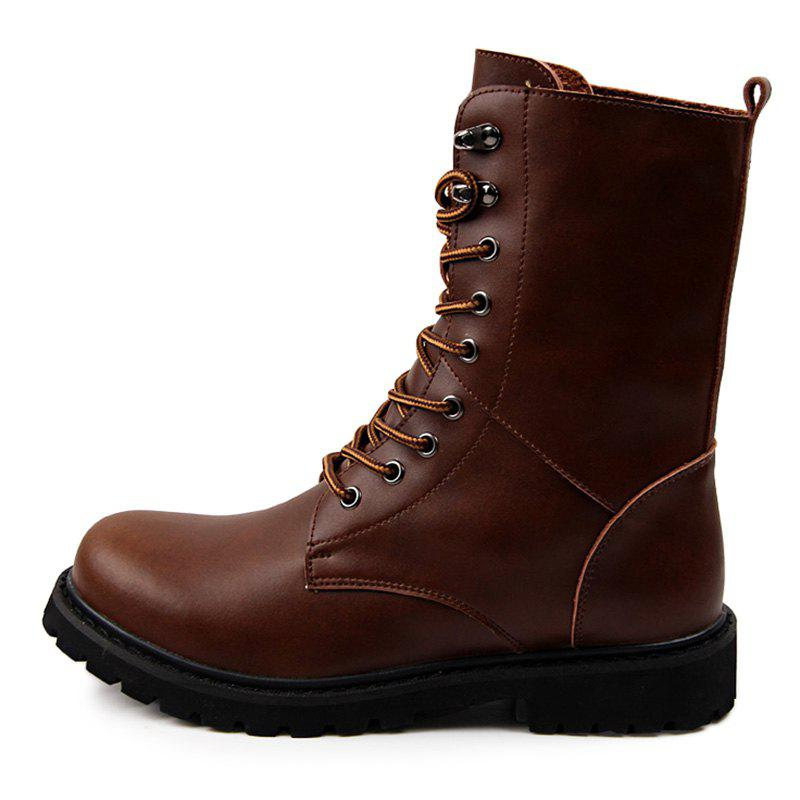 Latest Genuine Leather Lace Up Tall Boots Shoes for Men