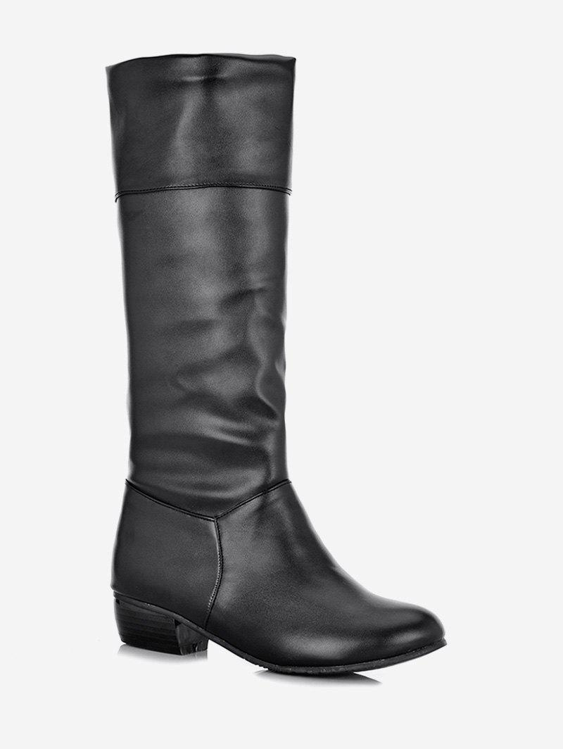Cheap Plus Size Ruched Flat Mid Calf Boots