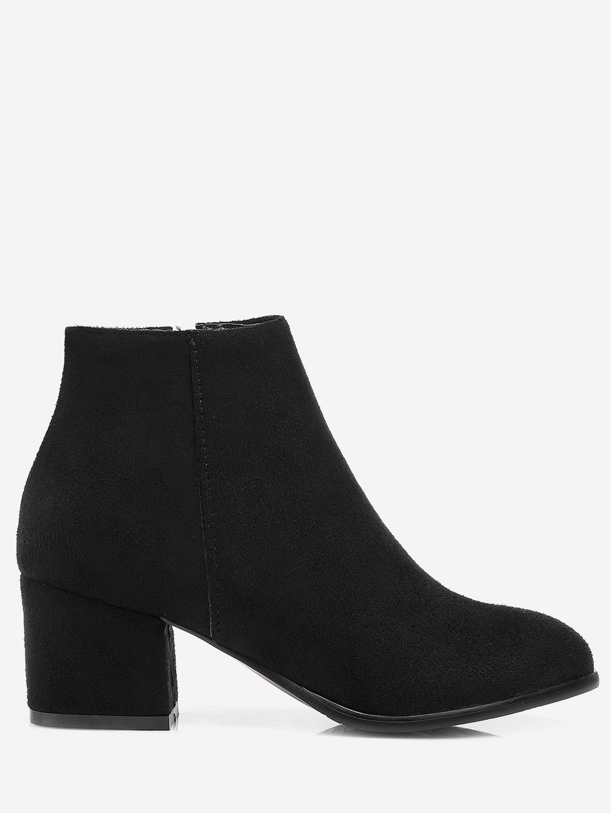 Hot Plus Size Chunky Heel Suede Ankle Boots