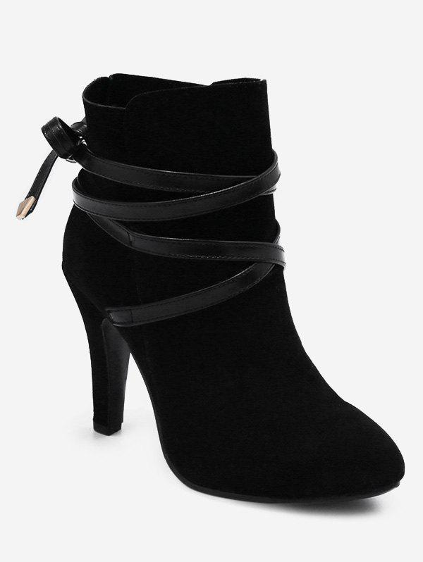 Chic Plus Size Bowknot Cone Heel Suede Boots