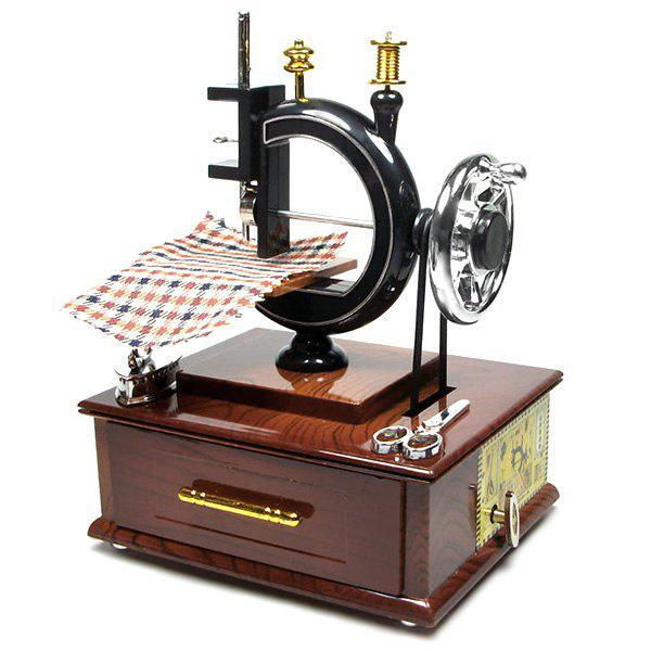 Shop Retro Sewing Machine Music Box with Drawer Desktop Ornaments Gift