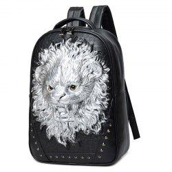 liyongyi 3158 3D Lion Pattern PU Leather Backpack -