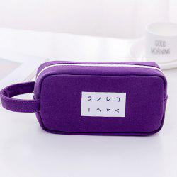 Simple Canvas Pen Case Pencil Bag with Large Capacity -