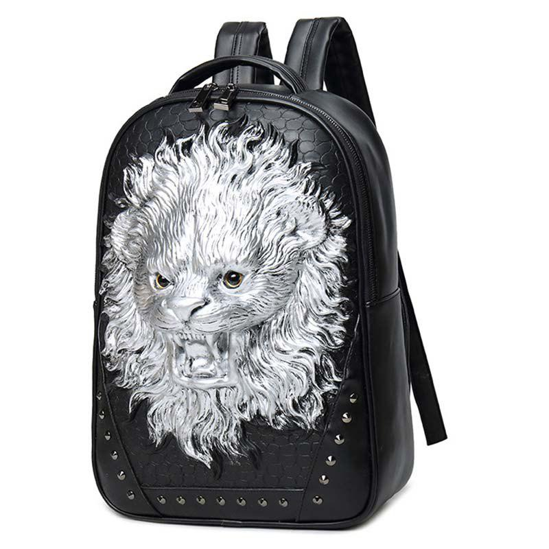 Store liyongyi 3158 3D Lion Pattern PU Leather Backpack