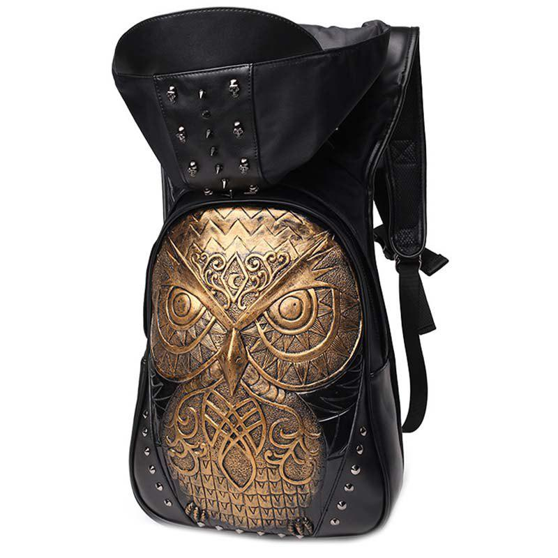 Unique liyongyi 3175 3D Owl Pattern PU Leather Backpack