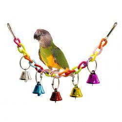 Acrylic Pet Bird Toys Chew Cage Hanging Ladder Swing Ringer Bell for Parrot Cockatiel Parakeet -