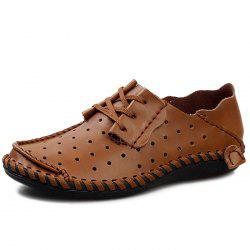 Stylish Breathable Anti-slip Lace-up Leather Loafer Shoes for Men -