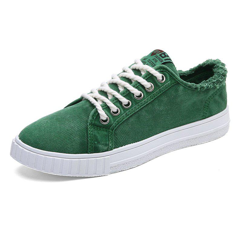 New Male FashionDenim Wearable Lace Up Casual Shoes