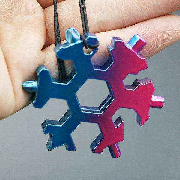 Hot GE001C 19-in-1 Snowflake Appearance Hexagonal Wrench Tool Portable Key Ring