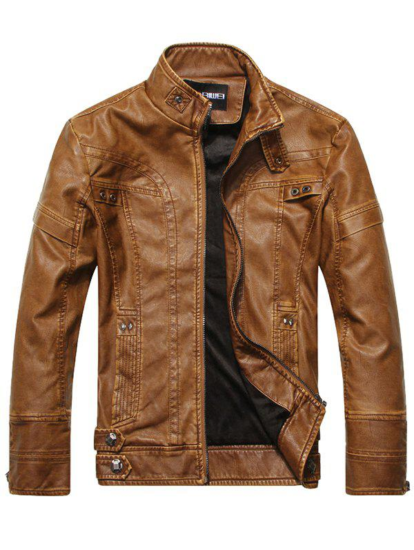 Best Trendy Street Long Sleeve PU Jacket for Men