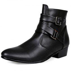 Stylish Wear-resistant Zipper Leather High-top Men Boots -