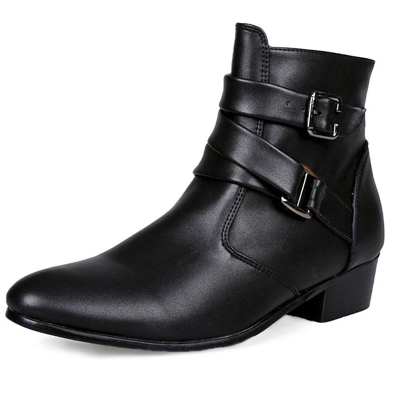 cc17547b90e 48% OFF] Stylish Wear-resistant Zipper Leather High-top Men Boots ...