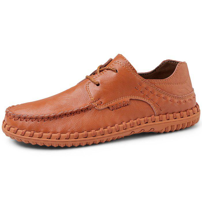 Affordable Trendy Comfortable Lace-up Casual Leather Flat Shoes for Men