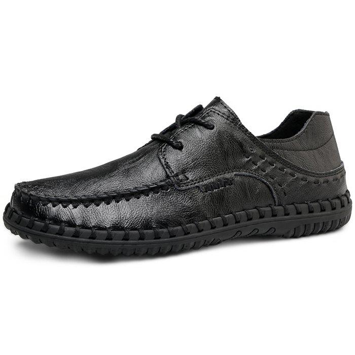 Shop Trendy Comfortable Lace-up Casual Leather Flat Shoes for Men