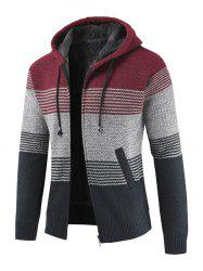 Stylish Polyster Thicken Sweater Jacket with Hat for Men -