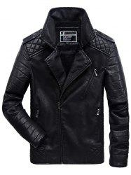 JOOBOX Brushed Leisure Zipper Leather Jacket for Men -