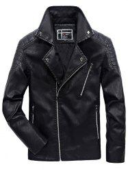 JOOBOX Brushed Leisure Stand Collar Zipper Leather Jacket for Men -