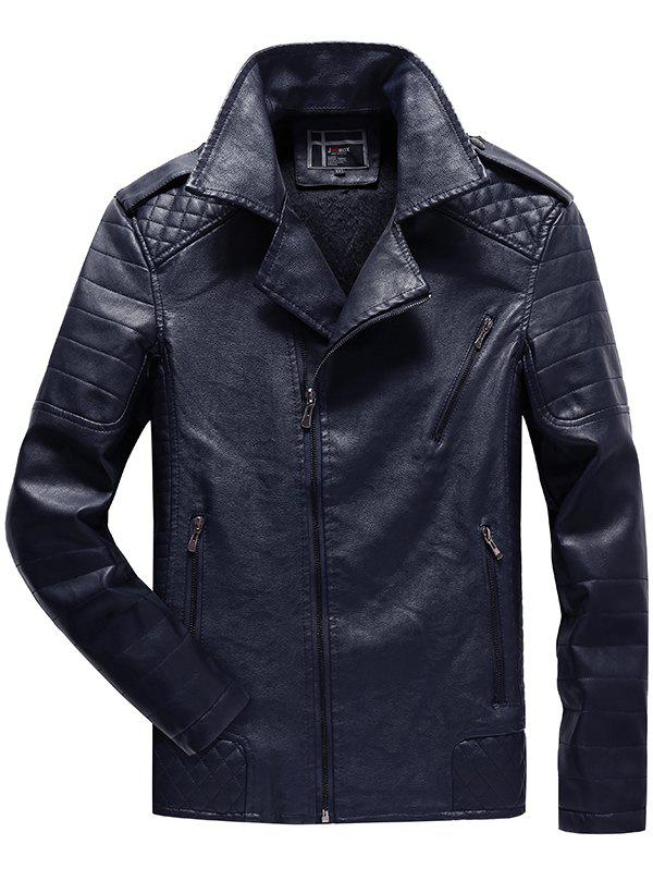 Trendy JOOBOX Brushed Leisure Zipper Leather Jacket for Men