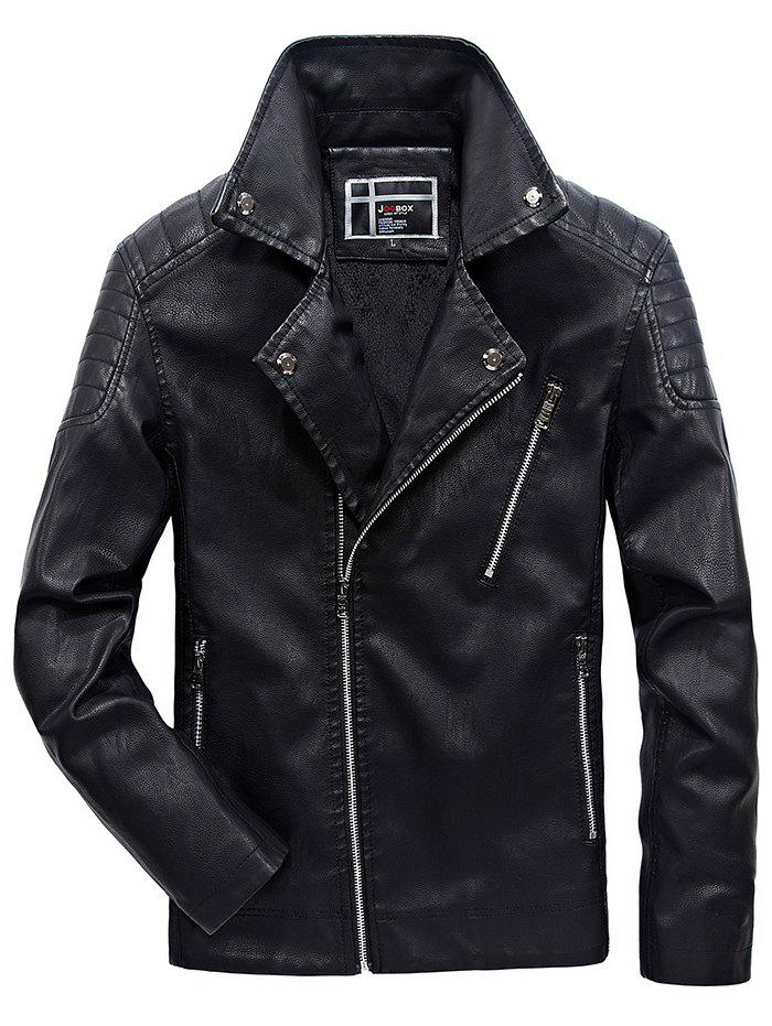 Fashion JOOBOX Brushed Leisure Stand Collar Zipper Leather Jacket for Men
