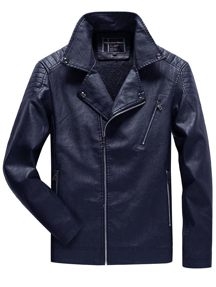 Best JOOBOX Brushed Leisure Stand Collar Zipper Leather Jacket for Men
