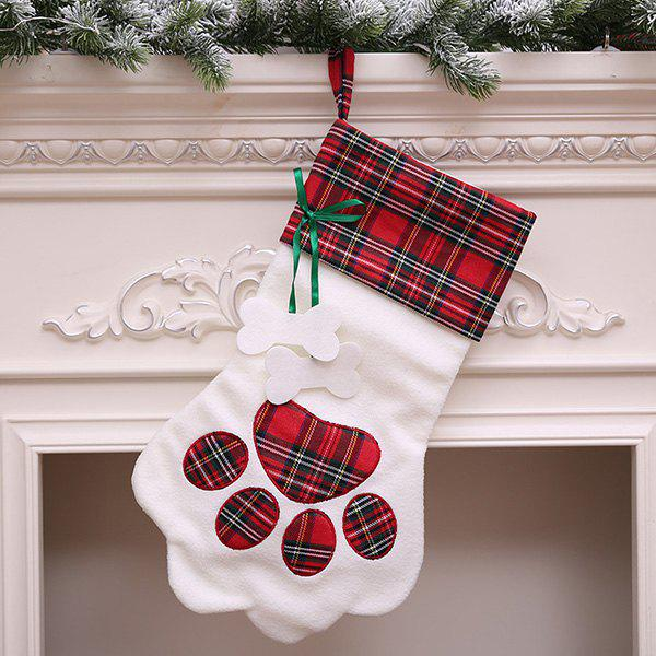 Chic Christmas Sock-shaped Gift Bag with Dog Paw Print Pattern