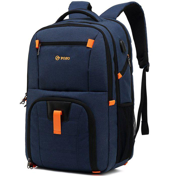 Outfit POSO Waterproof Large Capacity Storage Travel Backpack with USB Charging Port