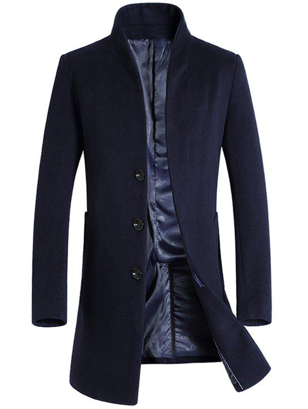 Fashion Leisure Medium Long Single Breasted Wool Coat for Men