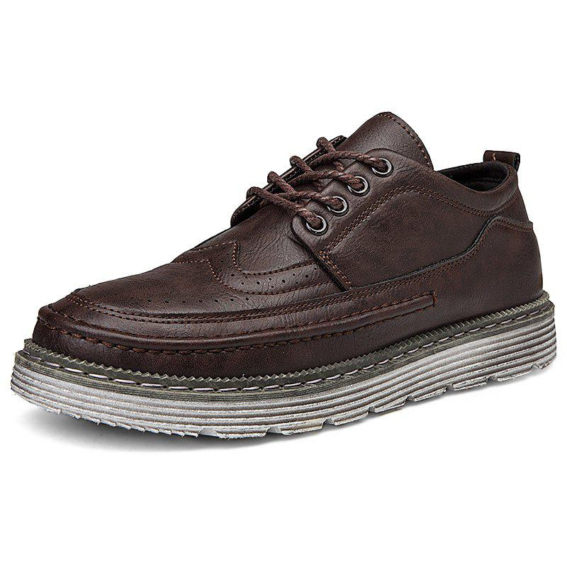 Outfits Leisure Lace-up Breathable Casual Leather Shoes for Men