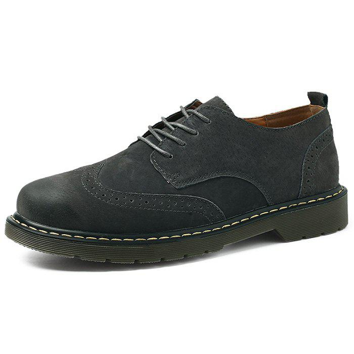 Trendy Men Lace Up Leather Casual Shoes
