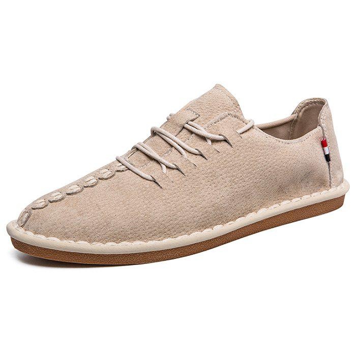 Pigskin Casual Chaussures plates pour hommes Beige EU 44