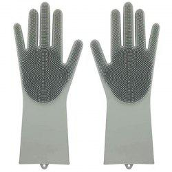 Pair of Heat Resistance Silicone Cleaning Gloves for Bathroom Kitchen -