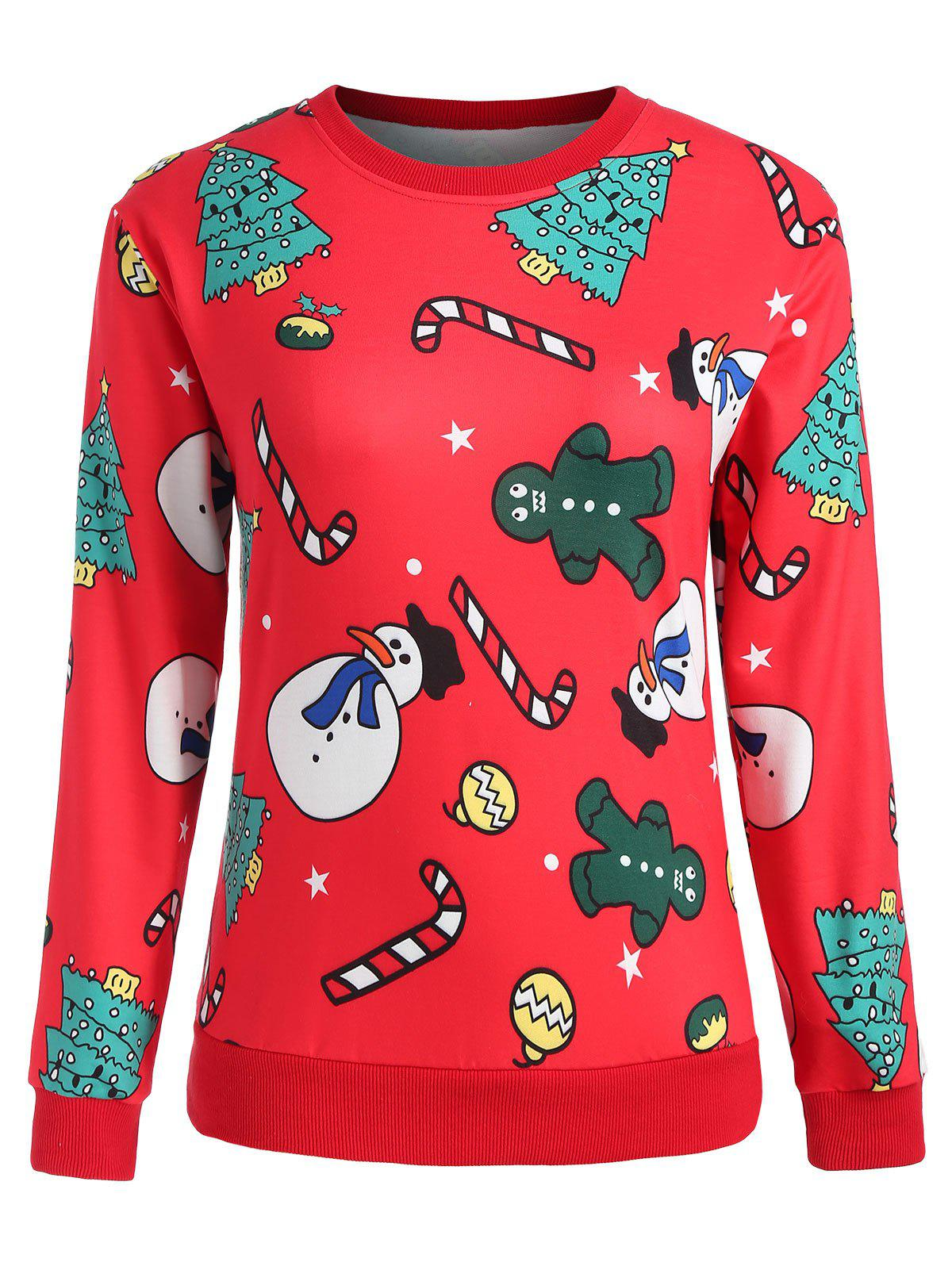 Outfit Plus Size Christmas Trees Print Sweatshirt