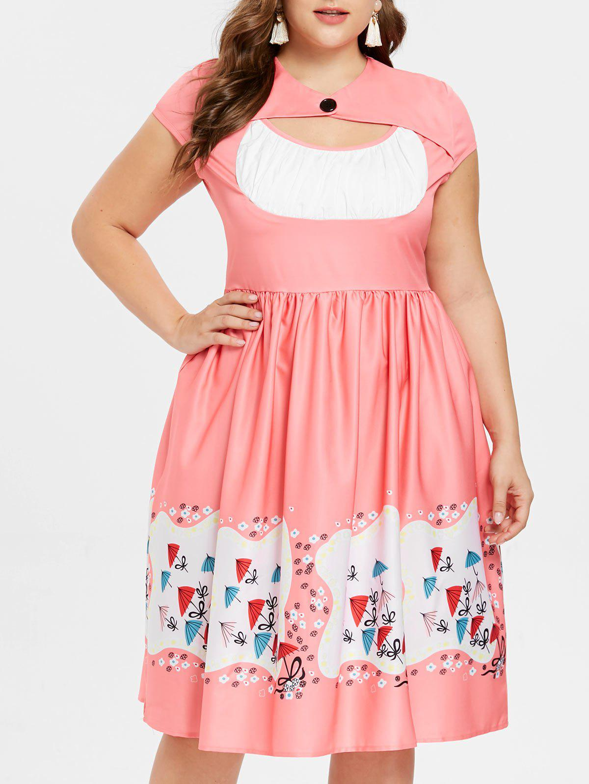 Cheap Plus Size Cut Out Flared Dress