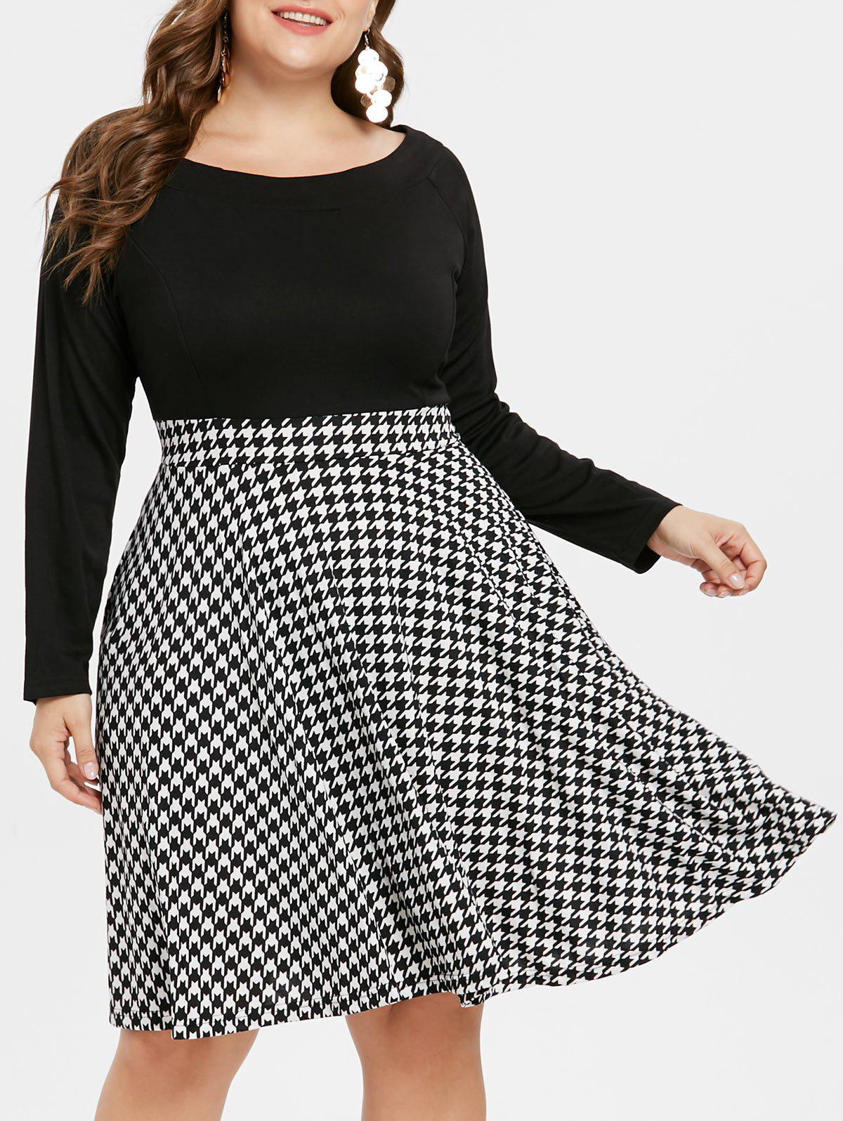 1d38ed93d42 2019 Houndstooth Pattern Plus Size Flare Dress
