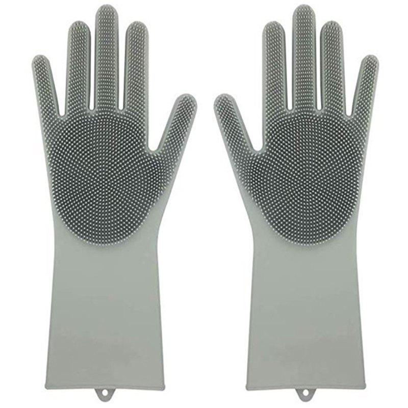 Online Pair of Heat Resistance Silicone Cleaning Gloves for Bathroom Kitchen