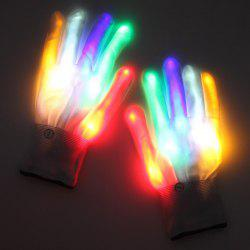 Pair of LED Colorful Flash Gloves Fluorescent Performance Props Halloween Gift -