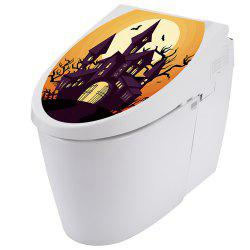 Ghost Castle Pattern Bathroom Toilet Sticker for Halloween Decoration -