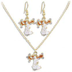 White Fawn Pattern Necklace Earrings Jewelery Set -