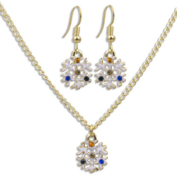 White Snowflake Pattern Necklace Earrings Jewelery Set