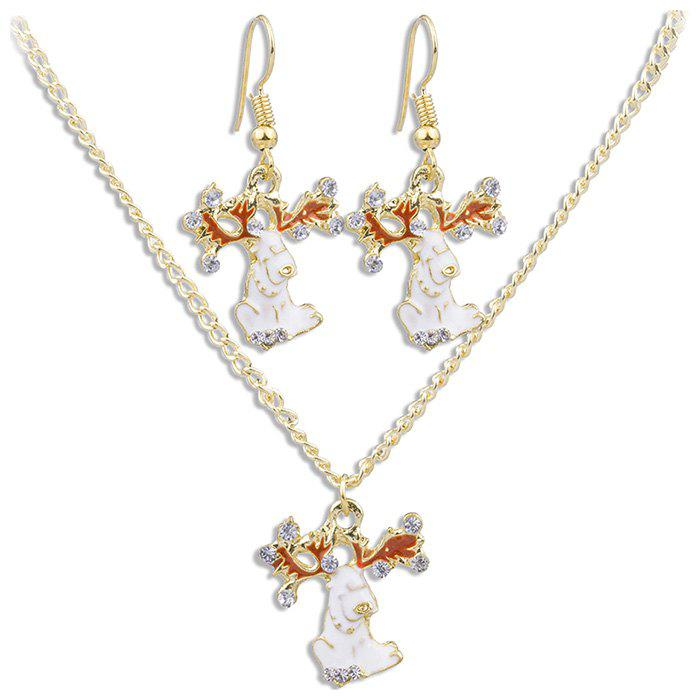 Chic White Fawn Pattern Necklace Earrings Jewelery Set