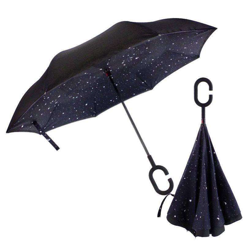Store Upstanding Long Handle Double Layer Printing Hand Free Umbrella