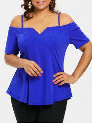 Plus Size Cold Shoulder T-shirt -