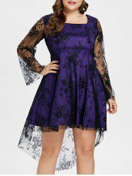 Plus Size High Low Lace Overlay Dress -