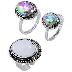 Oval Starry Sky Style Finger Ring 3pcs -