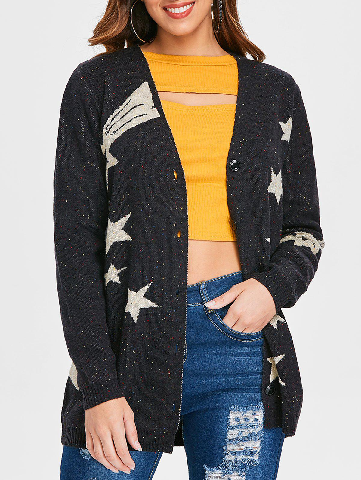 New Star Pattern Button Up Cardigan