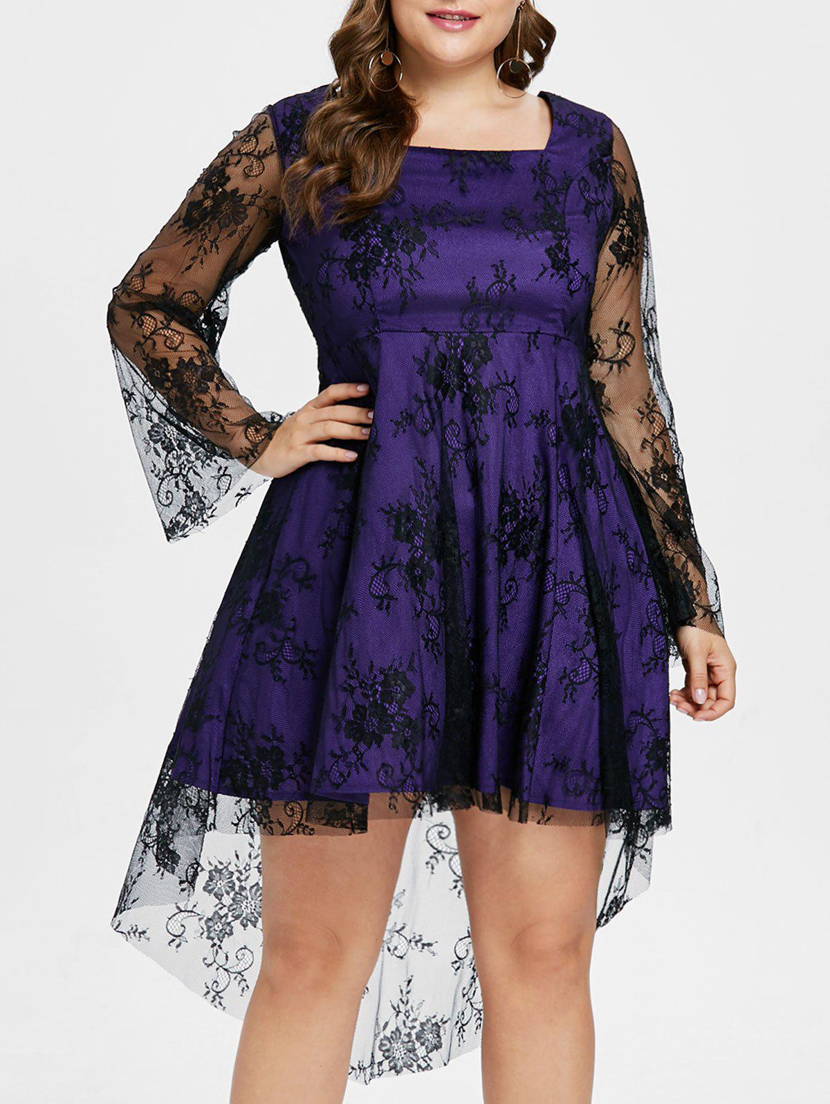 Sale Plus Size High Low Lace Overlay Dress