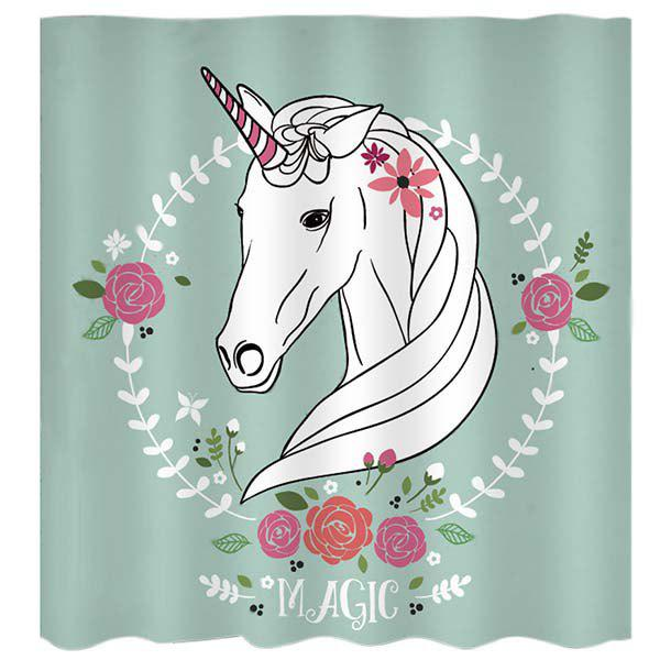 Outfits BK130 Cartoon Unicorn Shower Curtain